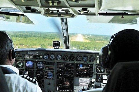 View from the cockpit of a small propeller plane, landing at Bilwi, Nicaragua, Central America
