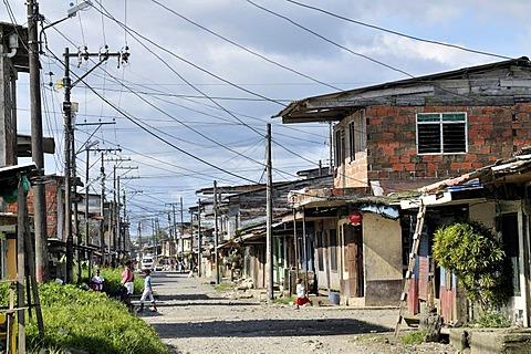 Street in the Bajamar slum, Buenaventura, Valle del Cauca, Colombia, South America