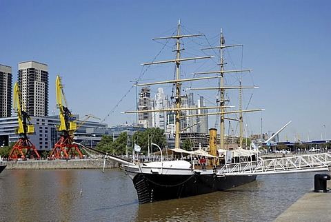 Uruguay Frigate, a museum ship in the old Puerto Madero harbor, Puerto Madero district, Buenos Aires, Argentina, South America - 832-141165