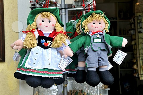 Dolls in a typical Austrian traditional costume, Hallstatt, Salzkammergut, Upper Austria, Austria, Europe