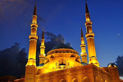 Khatem al-Anbiyaa Mosque at dusk, Beirut, Lebanon, Middle East, Orient