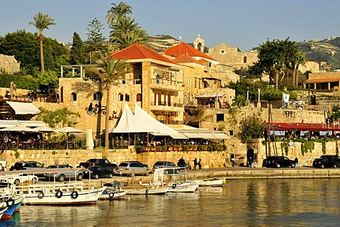 Fishing boats in the ancient port of Jbeil, Byblos, Lebanon, Middle East, Orient