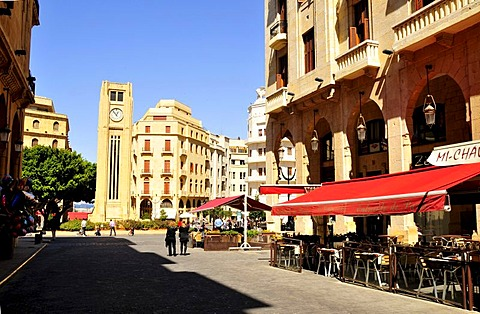 Street cafe on the Place d'Etoile, Beirut, Lebanon, Middle East, Orient