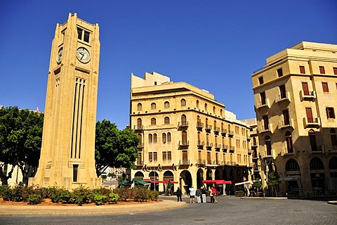 Clock Tower from the French mandate area in the Art Deco style, Place d'Etoile, Beirut, Lebanon, Middle East, Orient
