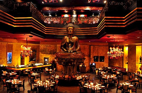 Giant Buddha statue in the famous Buddha Bar night club, Beirut, Lebanon, Middle East, Orient