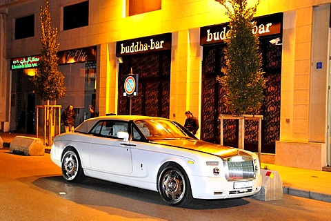 Rolls-Royce in front of the famous Buddha Bar night club, Beirut, Lebanon, Middle East, Orient - 832-142517