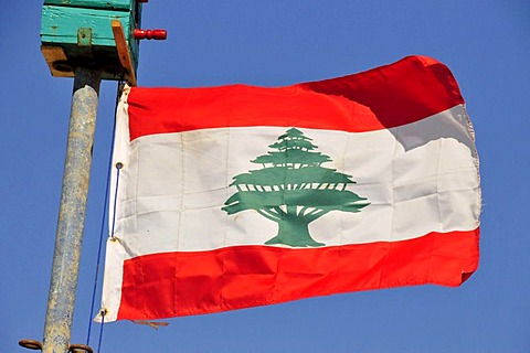 Lebanese national flag with a cedar of Lebanon, Beirut, Lebanon, Middle East, Orient