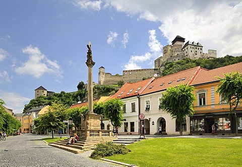 View from the main square to the castle, Trencin, Slovakia, Europe
