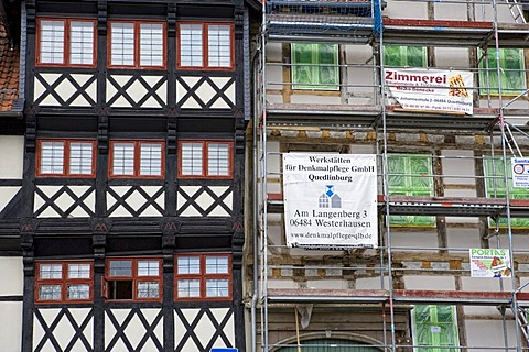 Building facades in Wolfenbuettel, Lower Saxony, Germany, Europe