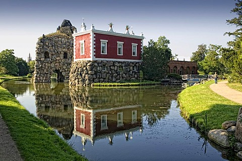 Rock Island with Villa Hamilton, Dessau-Woerlitz Garden Realm, UNESCO World Heritage Site, Dessau, Saxony-Anhalt, Germany, Europe