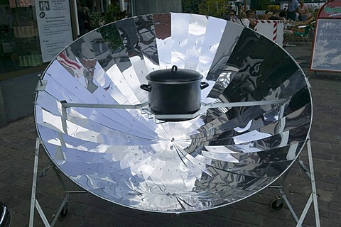 Cooking pot on a solar collector, cooking with solar energy, Germany, Europe
