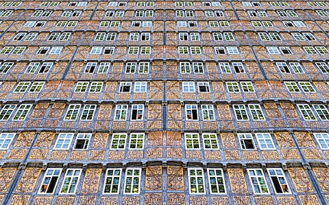 Photomontage, facades with Lueftlmalerei, mural paintings, Schlossberg, Quedlinburg, Saxony-Anhalt, Germany, Europe
