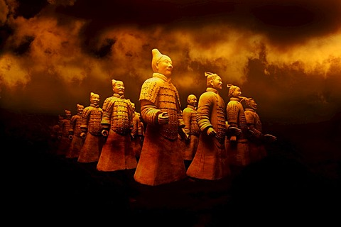 Terracotta Army exhibition, faithful replicas of the statues from XIAN in China, Weilburg an der Lahn, Hesse, Germany, Europe - 832-143413