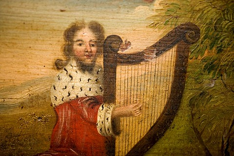 King David with the harp, painting on a psaltery, a table harp from Estonia, 17th century, Haus Kemnade castle and museum, Hattingen, North Rhine-Westphalia, Germany, Europe - 832-143464
