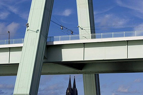 Unusual view of the Cologne Cathedral, Severinsbruecke Bridge at front, Cologne, North Rhine-Westphalia, Germany, Europe