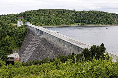 The dam of the Rappbode-Talsperre reservoir, Harz, Saxony-Anhalt, Germany, Europe