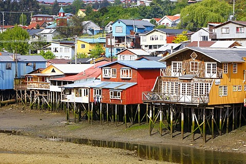 Houses on stilts in the fishing port of Castro, Chiloe Island, Southern Chile, Chile, South America