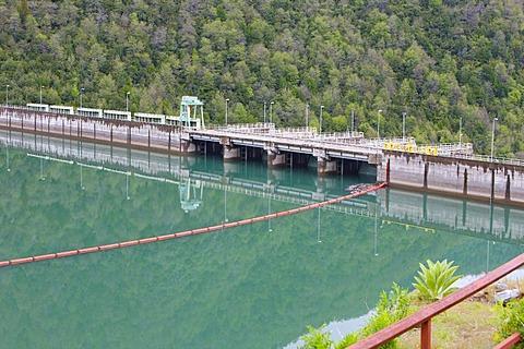 Reservoir dam, Biobio River, southern Chile, Chile, South America