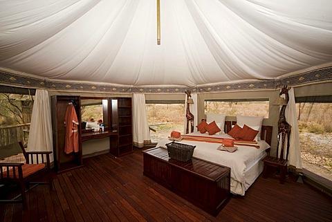 Interior view of a luxurious safari tent, Three Baobab Lodge, Savuti, Botswana, Africa