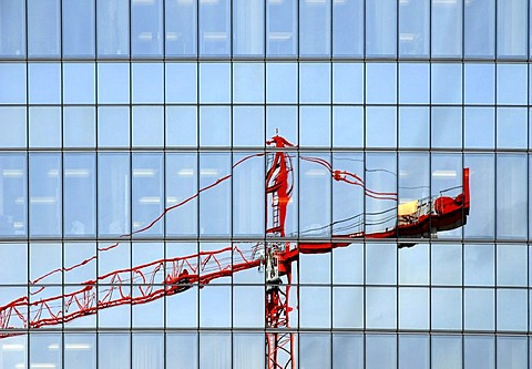 Red crane reflected in a high-rise building
