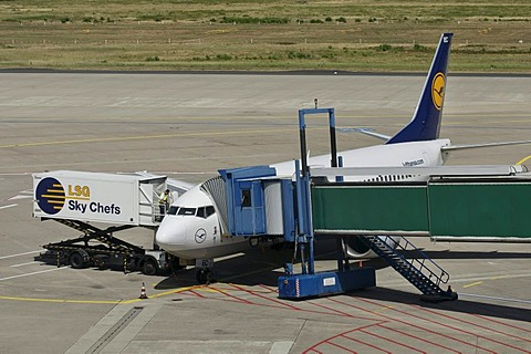 Lufthansa plane being unloaded, container and gangway connected to the airplane, apron, Cologne Bonn Airport, North Rhine-Westphalia, Germany, Europe