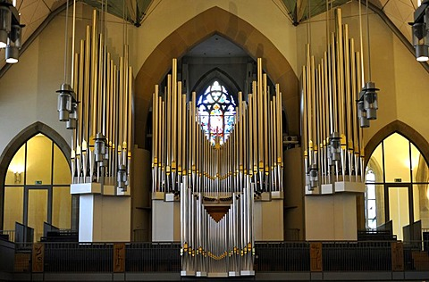 New Muehleisen pipe organ, indoor photo of Stiftskirche church in Stuttgart, landmark and the oldest Protestant church of Stuttgart, Baden-Wuerttemberg, Germany, Europe