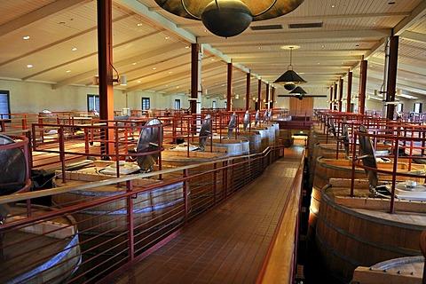 Oak fermentation barrels of Robert Mondavi Winery, Napa Valley, California, USA
