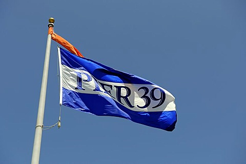 Flag of pier 39 at the Fisherman's Wharf, San Francisco, California, USA, America