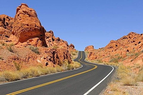 Road running through the Valley of Fire State Park, Nevada, USA, North America