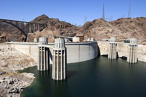 Hoover Dam, Lake Mead Reservoir, Nevada, USA, North America