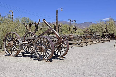Historic mining equipment in the Borax Museum, Furnace Creek Museum, Death Valley National Park, California, USA, North America