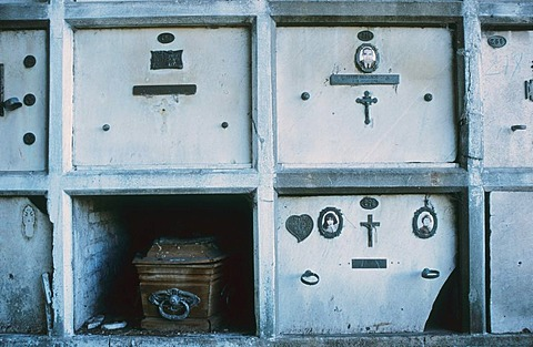 Open grave with casket, cemetery, Buenos Aires, Argentina, South America