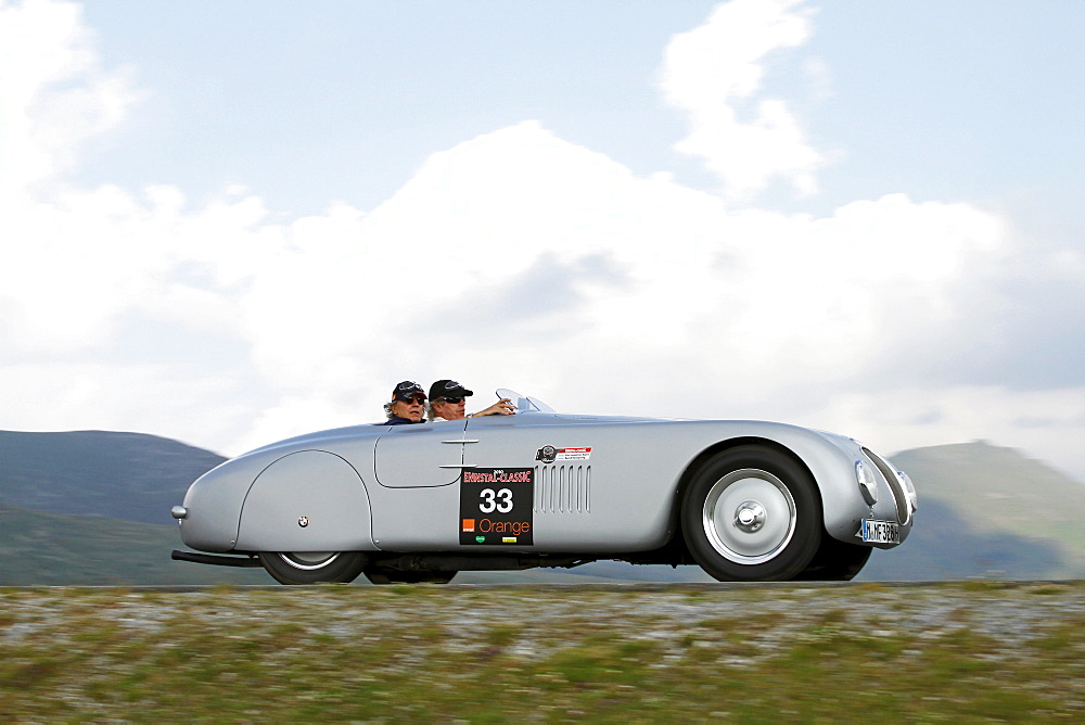 BMW 328 Touring Roadster, built in 1937, Mille Miglia original from the BMW museum, being driven by Prince Leopold of Bavaria, Nockalmstrasse, Ennstal Classic 2010 Vintage Car Rally, Groebming, Styria, Austria, Europe