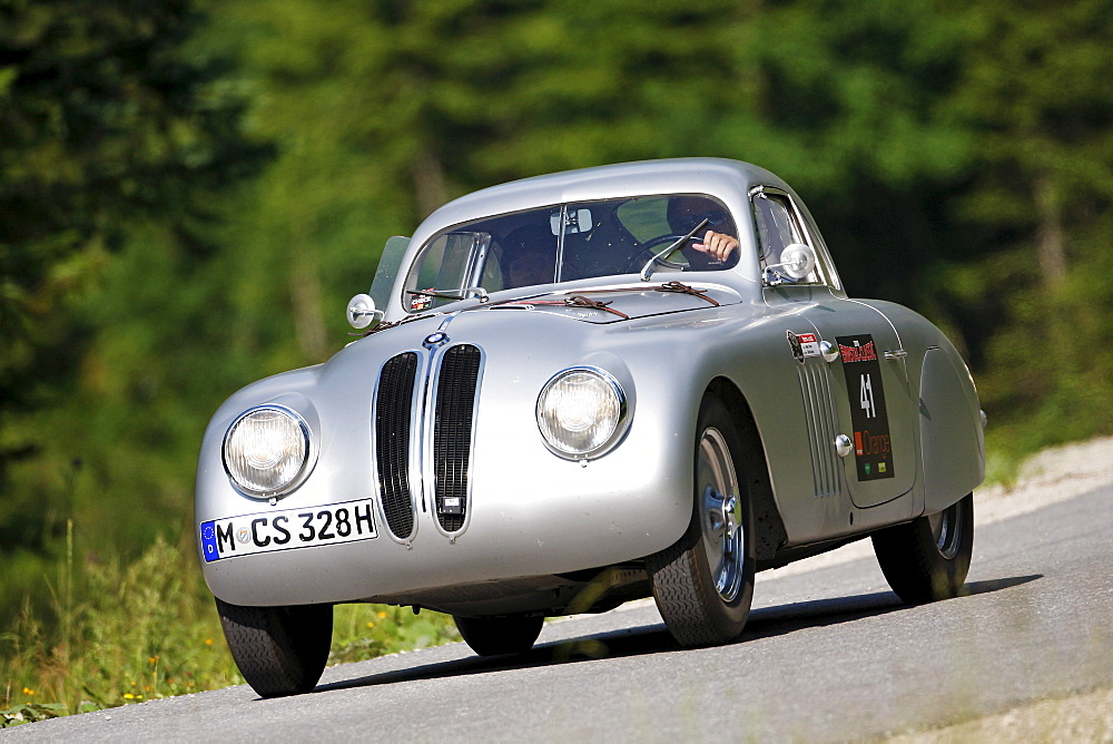 BMW 328 Coupe, built in 1939, Mille Miglia original from the BMW Museum, being driven by Marc Surer, former Formula 1 driver, Ennstal Classic 2010 Vintage Car Rally, Groebming, Styria, Austria, Europe