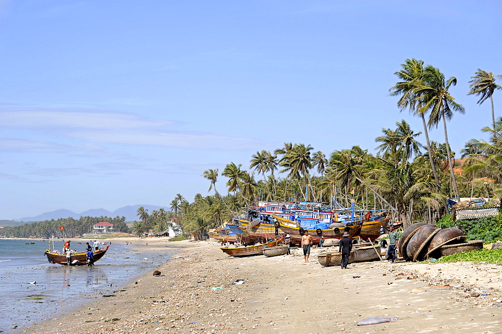 Fishing boats in the fishing port of Mui Ne on the South China Sea, South Vietnam, Southeast Asia