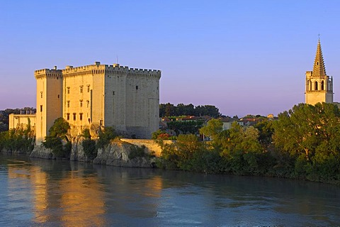 King Rene's castle and Rhone river, Tarascon, Bouches-du-Rhone, Provence, France, Europe