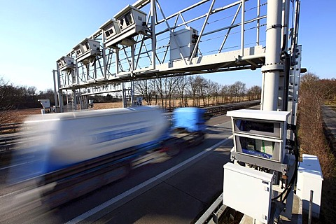 Tollgate, Autobahn Toll Collection, German highway A3 near Hamminkeln, Niederrhein, North Rhine-Westphalia, Germany, Europe