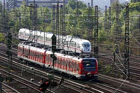 Intercity-Express train, ICE, and a regional train, suburban train, on the track, railway, track network next to the main railway station in Essen, Essen, North Rhine-Westphalia, Germany, Europe