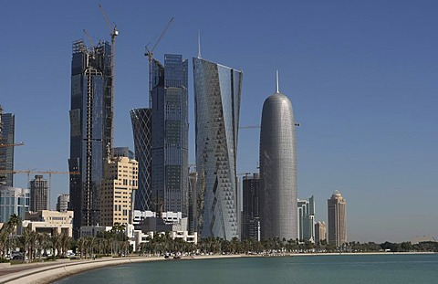 Skyline, high-rise construction sites, West Bay District, Doha, Qatar, Middle East