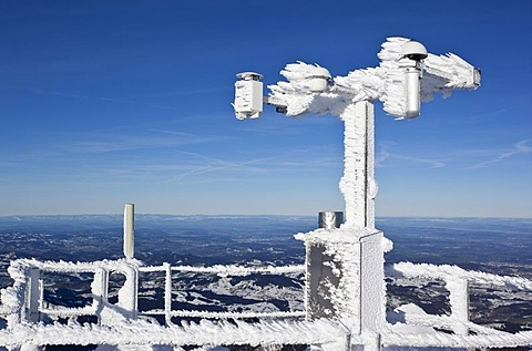 Frozen measure instrument overlooking Lake Constance, Mt. Saentis, Switzerland, Europe