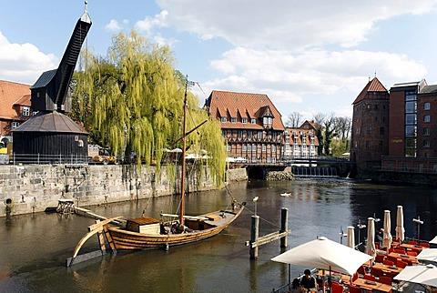 Historical salt port at the Ilmenau river, replica of a salt ship, old crane, old town, Lueneburg, Lower Saxony, Germany, Europe