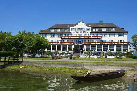 Strandhotel Loechenerzell beach hotel in Mittelzell, Reichenau island, Lake Constance, Baden-Wuerttemberg, Germany, Europe