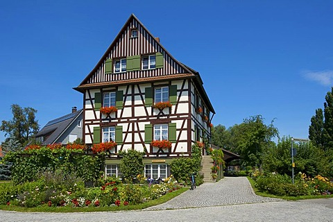 Half-timbered house on Reichenau island, Lake Constance, Baden-Wuerttemberg, Germany, Europe