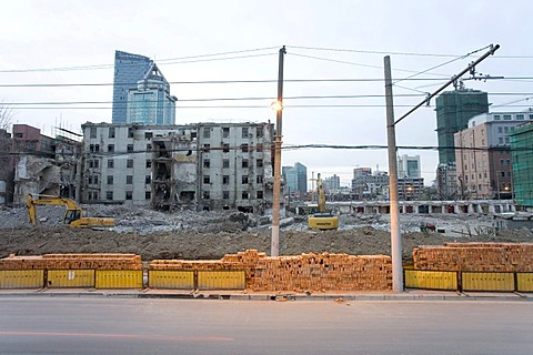 Demolition area, urban redevelopment, Shanghai, China, Asia