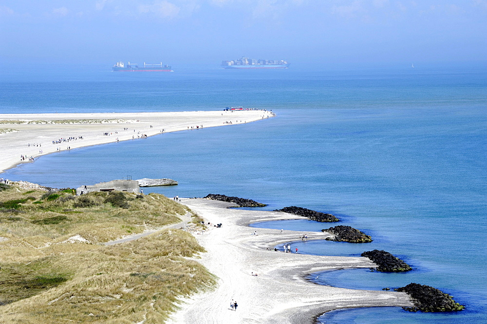 Headland where the North Sea and the Baltic Sea meet, container ships at back, Skagen, Jutland, Denmark, Europe