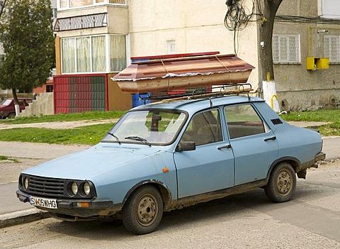 Coffin on a Dacia car, Romania, Europe