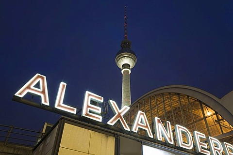 Alexanderplatz S-train station and the Fernsehturm television tower, Berlin, Germany, Europe