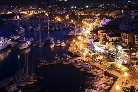 Calvi at night, Corsica, France, Europe