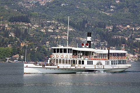 Passenger ferry in Gardone Riviera, Lake Garda, Lombardy, Italy, Europe