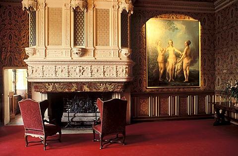 Salon Francois I, Chateau Chenonceau Castle, Indre-et-Loire, Centre, France, Europe